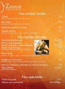 Menu Restaurant Zamane Couscous - les entrées et spécialites