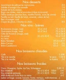 Menu Restaurant Zamane Couscous - les desserts et boissons