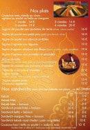 Menu Restaurant Zamane Couscous - Les plats et sandwiches