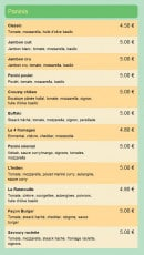 Menu Fast Food Mejane Express - Les paninis
