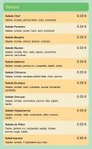 Menu Fast Food Mejane Express - Les salades