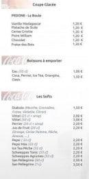 Menu La Croustillade - Coupes glacées, boissons à emporter et softs