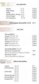 Menu La Croustillade - Apéritifs, vins et bières bouteilles