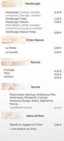 Menu La Croustillade - Hamburgers, frites maison, paninis,...
