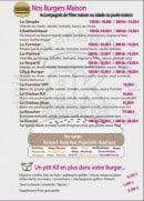 Menu Burger Kfé - Les burgers