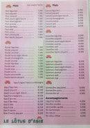 Menu Le Lôtus d'Asie - plats, accompagnements
