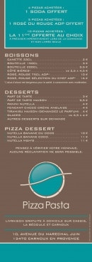 Menu Pizza pasta - Boissons