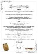 Menu L'Astoria - Menu des Charentes
