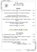 Menu L'Astoria - Entrées et Omelettes