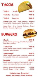 Menu Speed'za - Tacos et burgers