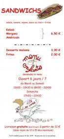 Menu Speed'za - Sandwiches, desserts, menu enfant,...