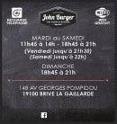 Menu John Burger - Informations