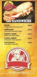 Menu La Rôtisserie de Balagne - Les sandwiches