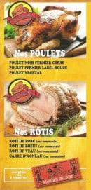 Menu La Rôtisserie de Balagne - Les poulets et les rôtis
