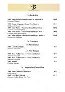 Menu Le benaton - Les vins rouges suite et vins blancs