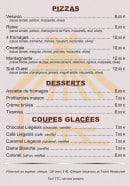 Menu La Paillote de Saint Saud - Pizzas, desserts et coupes glacées