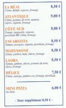 Menu Camion Real Pizza - Les pizzas: la réal, atlantique, coté du sud,..