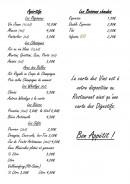 Menu La Bonne Auberge - Apéritifs et boissons chaudes