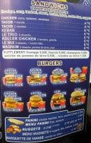 Menu Time food - Sandwiches et burgers