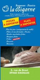 Menu La Bigorne - Les pizzas et plats à emporter