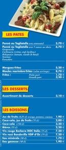 Menu La Bigorne - Les pates,desserts,boissons à emporter