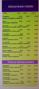Menu Pizz'a Gimario - les pizzas base creme