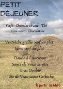Menu L'Auberge du Moulin - Le petit déjeuner