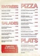 Menu Peperoncino - Les entrées, les salades, les pizzas et plats