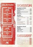 Menu Peperoncino - Les formules, les boissons et desserts