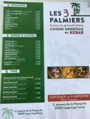 Menu Les 3 Palmiers - Carte et menu Les 3 Palmiers Lege Cap Ferret