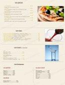 Menu Eugene et Marie - Les pizzas, les vins, les eaux et boissons