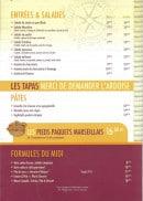 Menu Le Cabanon - Les entrées, salades, tapas...