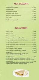 Menu Le Ty'Zac - Les desserts et crêpes