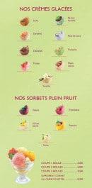 Menu Le Ty'Zac - Les crèmes glacées et sorbets plein fruit