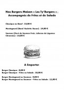 Menu Le Ty'Zac - Les burgers