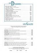 Menu L'Amiral - Desserts et glaces