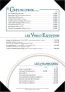 Menu L'Amiral - Coup de coeur, vins d'exceptions et champagnes