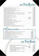 Menu L'Amiral - Vins blancs et rosés