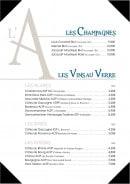 Menu L'Amiral - Champagnes et vins au verre