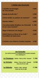 Menu Le Victoria - Atelier de gourmet et formules