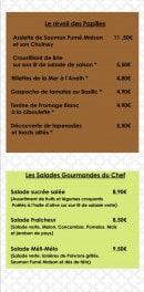 Menu Le Victoria - Plats et salades