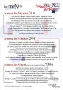 Menu La Minoterie - Menus