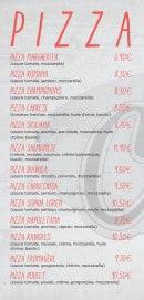 Menu La Chandelle - Les pizzas