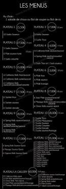Menu La Gallery - Les menus et plateaux