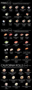 Menu La Gallery - Les makis, les sushis et californias rolls