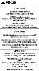Menu Le Vivaldi - les menus