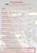 Menu La petite taverne - Les spécialités