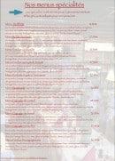 Menu La petite taverne - Les menus spécialités
