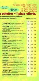 Menu Monster Pizz - les pizzas: tennesse, cyclone, monster...