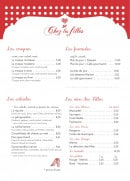 Menu Chez les filles - Croques, salades, formules,....